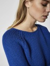 Selected Femme - Olga Ls Knit Wide O-neck Blå thumbnail