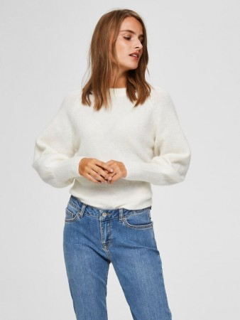Selected Femme - Kylie Ls Knit O-neck Snow White