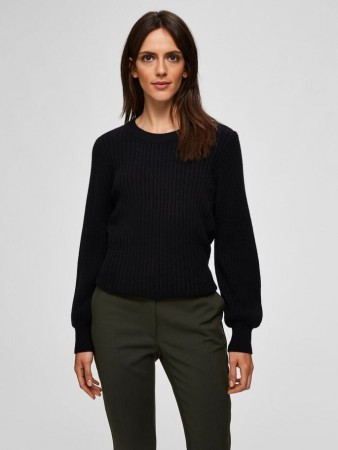 Selected Femme - Rianna X-mas Rib Knit O-neck Black