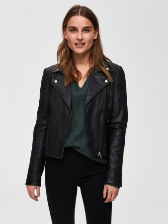 Selected Femme - Marlen Leather Jacket Noos Black