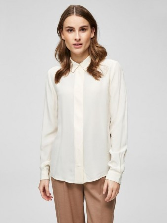 Selected Femme - Odette Ls Silk Shirt Off-white