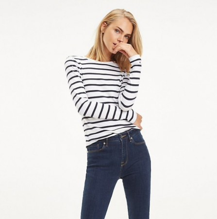 Tommy Hilfiger - Th Essential Skinny Rib Tee Essential Stp / Midnight