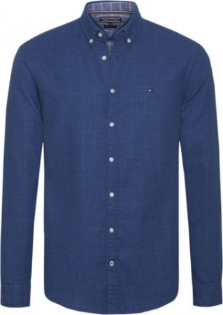 TOMMY HILFIGER - FLANNEL DOUBLEFACE SHIRT BLUE DEPTHS