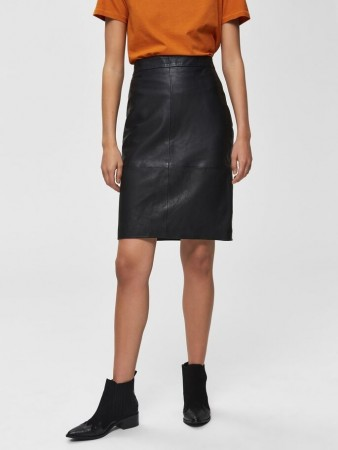 Selected Femme - Maily Hw Leather Skirt