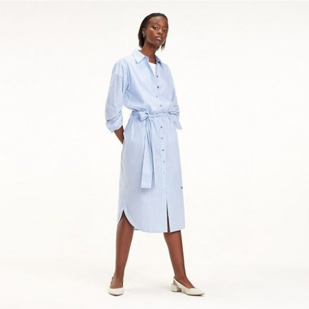 Tommy Hilfiger - Th Essential Midi Shirt Dress Ls Ithaca Stp / Deep Ultramarine
