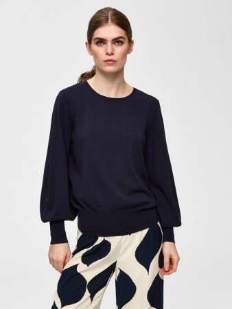 Selected Femme - Bonni Ls Knit O-neck Dark Sapphire