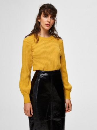 Selected Femme - Rianna X-mas Rib Knit O-neck Lemon Curry