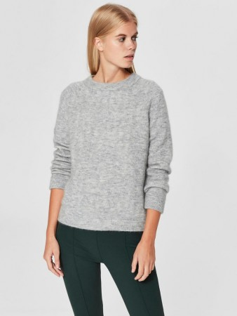 SELECTED FEMME - KAILA KNIT O-N LIGHT GREY STRIKKET GENSER