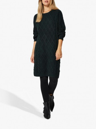 SELECTED FEMME - CARMI LS KNIT O-NECK DRESS SCARAB